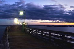 Enter into the Dusk (Lojones13) Tags: water clouds dark pier outdoor dusk bluehour peer longislandsound