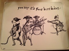 The Clydles-You say it's your birthday... (ianulimac) Tags: birthday music dog art illustration john paper paul drums clyde sketch george bass guitar drawing stage humor cartoon doodle card gift marker beatles ringo rockandroll moptop inkandpen ianmacdonald crookedpinkies