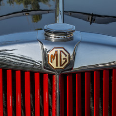 1951 MG Roadster (MyArtistSoul) Tags: red black car vintage reflections square shadows symmetry minimal mg chrome cap badge hood grille bonnet radiator 1951 roadster td s100 bilateral 0473