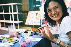 C048662-R1-28-29A (WahidaSamsuddin) Tags: portrait smile 35mm lomography colours cancer indoor olympus painter fujifilm kualalumpur analogue mjuii f28 pointshoot firstroll survivor stylusepic superia200 chineseink mjuii