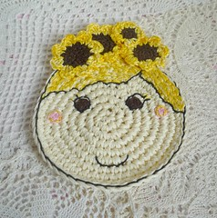 sunflower girl crochet coaster (MonikaDesign) Tags: handmade crochet sunflower happyface homedecor tabledecor kitchendecor crochetdoll crochetart crochetcoasters monikadesign