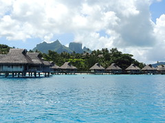 Looking back on the Hilton Bora Bora Nui Resort (Craigs Travels) Tags: mountain hotel hilton southpacific tahiti borabora frenchpolynesia societyislands overwaterbungalow