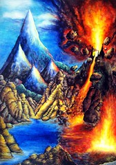Statics and dynamics. Hot contrasts (Sofia Metal Queen) Tags: mountain lake mountains hot art nature modern volcano earthquake artwork mood power dynamic opposite surrealism fineart surreal esoteric statics esoterical sofiagoldberg