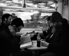 Some Lads On The Train - Middlesbrough. (Richard James Palmer) Tags: street new uk portrait england urban blackandwhite white abstract black art 120 mamiya film monochrome newcastle photography trapped shoot gloomy iso400 fineart north streetphotography documentary overcast rangefinder gritty ishootfilm tyne east iso ilfordhp5 400 walkabout epson hp5 medium format analogue melancholy northern middlesbrough northeast ilford f4 isolated upon 1125 80mm tyneandwear 2016 v700 mamiya7ii microphen filmisnotdead 7ii ilfordmicrophen epsonperfectionv700