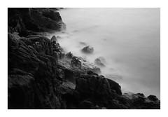Chiaroscuro (ekevansphotos) Tags: ocean longexposure sea bw white mist black seaweed water contrast milk seaside movement rocks long exposure 30seconds