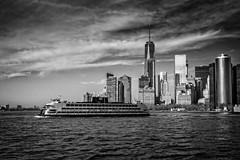 Staten Island Ferry (mdavies149) Tags: travel sky bw newyork ferry clouds america river island nikon cityscape eastriver hudsonriver lower manhatten staten d600 michaeldavies
