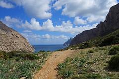 Approach to Cala Bquer (Philip McErlean) Tags: sea sky mountains landscape path valley mallorca cala majorca balearics bquer rx100