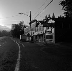 Early Morning, Portland (austin granger) Tags: street morning film sunrise square portland neighborhood business lane roadside slanting gf670 austingranger