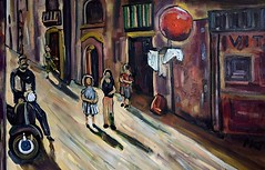 Red Ball in Naples (The Big Jiggety) Tags: street light red italy rot art ball children rouge calle rojo italia vespa shadows arte dusk kunst ballon scooter peinture canvas sphere oil napoli naples tableau rue rosso italie crepuscule pintura huile toile cuadro ambiance oleo lienzo