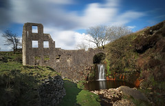 Cheesden relics (manphibian) Tags: old longexposure trees sky cloud history mill water clouds reflections waterfall ruins factory sony norden ruin derelict cloudporn waterwheel rochdale relic ashworth skyporn cheesden sonya7