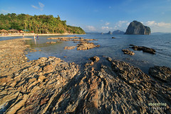 Las Cabanas at the Golden Hour (engrjpleo) Tags: travel sea sun seascape water rock landscape coast seaside outdoor philippines shore elnido palawan waterscape lascabanas marimegmegbeach
