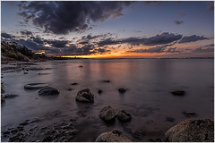 Beach sunset towards Geelong (RissaJT_23) Tags: sunset sky water clouds canon bay pier rocks australia victoria geelong portphillipbay oldpier bellarinepeninsula cliftonsprings canon1740mm canon6d canoneos6d cliftonspringsvictoriaaustralia