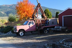 Yes, it really is pink.... (tonywild241) Tags: street pink autumn mountain canada tree truck landscape rust fallcolor hill ruin rusty foliage vehicle wreck townscape streetscape crusty corroded mostviewed vernonbc okanaganbc rustandgreen