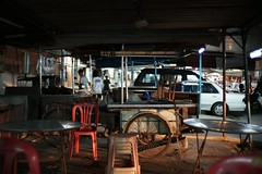 Empty Stall (ah.b|ack) Tags: street classic 35mm table chair f14 empty sony stall mc malaysia penang nokton voigtlnder butterworth vm wideopen prai a7ii chailengpark a7mk2