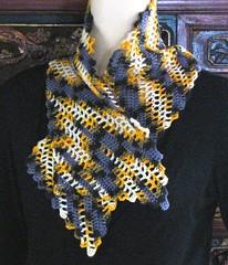 Bare Bones bunched (vashtirama) Tags: crochet variegated filet multicolor freeform handdyedyarn selfstriping handpaintyarn crochetclass shortstriping barebonesscarf stitchgames