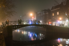 Amsterdam in fog (George Pachantouris) Tags: city urban cloud mist holland netherlands amsterdam fog night lights canal