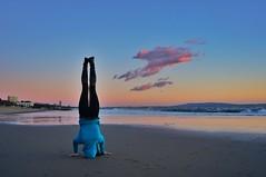 Sunset Beach Yoga ((Jessica)) Tags: california sunset woman cloud beach yoga person headstand pacificpalisades sirsasana willrogersstatebeach