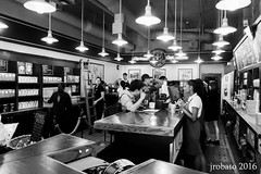Inside The First Starbucks (orgazmo) Tags: seattle monochrome blackwhite washington sony starbucks pikeplace sonyalpha a6000 sel1018 1018mmf4oss