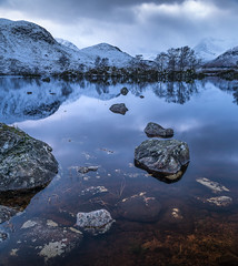 Lochan na h-Achlaise (Dylan Nardini) Tags: blue winter white snow cold reflection water scotland nikon underwater local bluehour moor glenetive lochan rannoch westhighlands 2016 nahachlaise d810