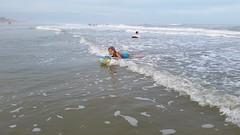 Violet Boogie-Boarding On Mickler's Beach (Joe Shlabotnik) Tags: cameraphone ocean beach florida violet pontevedra boogieboard 2015 micklersbeach justviolet galaxys5 december2015