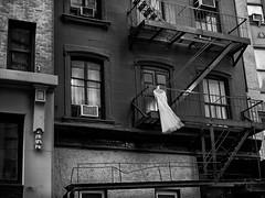 Urban Dress (Wes Bender) Tags: nyc blackandwhite bw newyork monochrome zeiss t manhattan sony 55mm carl fireescape metropolis nik frock fe weddingdress f18 fx za sonnar urbanfashion mirrorless shareenvintage silverefex sonya7r2 wesbender