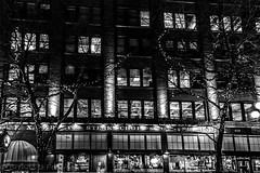 Layer Cake (Culinary Fool) Tags: seattle windows bw building wall lights restaurant blackwhite downtown january pioneersquare artwalk sodo firstthursday 2015 culinaryfool 2470mm28 brendajpederson