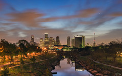 Sunrise This Morning Over Buffalo Bayou (brijonmang) Tags: bridge buffalo texas houston pedestrian rosemont bayou