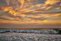 Evening Surf (Stuart Schaefer Photography) Tags: travel sunset sky seascape beach water clouds outdoors surf waves florida outdoor dusk shoreline wave shore cloudscape navarrebeach lamdscape sonyalpha sonya7rii
