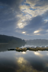 Calm Reflections (John__Hull) Tags: wood morning trees mist nature water reflections boats nikon leicestershire calm reservoir filter nd grad thornton d3200
