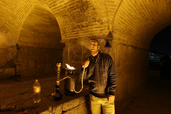 Leisure time in the night (Go Go Janet) Tags: travel fire shisha iran smoke streetphotography smoking esfahan hookah underabridge historicalarchitecture khajubridge