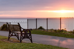 How may stories does this bench hold (~g@ry~ (clevedon-clarks)) Tags: pink sunset clouds bench landscape golden coast soft victorian somerset calm coastal seafront f28 clevedon northsomerset 70200mm hitechfilters