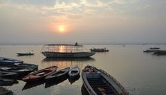 Sunrise boating, Varanasi. (draskd) Tags: morning light india sunrise river boats nikon waterfront wideangle traveller varanasi boating handheld rowboat riverbank hindu f8 ganga ganges ghats benares waterscape boatmen uttarpradesh indiatravel travelphoto nikondslruser 1685vr nikond7100 mirghat draskd benaresimages