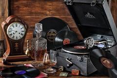 Clockwork Nostalgia (memoryweaver) Tags: old stilllife records vintage mechanical antique vinyl brandy clockwork windup 78 freecycle gramophone phonograph decca 78s 78records memoryweaver needletins