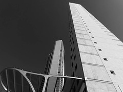 This way up (Andy WXx2009) Tags: city windows sky blackandwhite holiday tower monochrome skyline architecture modern buildings outdoors hotel spain europe mediterranean cityscape apartment skyscrapers artistic streetphotography resort espana benidorm costablanca