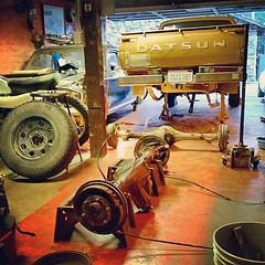 Broken........Fixing (Shutter Theory) Tags: square garage squareformat repairing datsun bulletside pl620 ratsun iphoneography instagramapp uploaded:by=instagram doitinadatsun