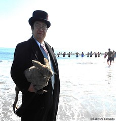 Dr. Takeshi Yamada and Seara (Coney Island sea rabbit) visited the Coney Island Polar Bear Club's winter swimming event at the Coney Island Beach in Brooklyn, NY on Mrch 6, 2016.  20160306Sun DSCN4356=8070pC2 (searabbits23) Tags: winter ny newyork sexy celebrity art beach fashion animal brooklyn asian coneyisland japanese star yahoo costume tv google king artist dragon god cosplay manhattan wildlife famous gothic goth performance pop taxidermy cnn tuxedo bikini tophat unitednations playboy entertainer samurai genius donaldtrump mermaid amc mardigras salvadordali billclinton hillaryclinton billgates aol vangogh curiosities bing sideshow jeffkoons globalwarming takashimurakami pablopicasso steampunk damienhirst cryptozoology freakshow barackobama polarbearclub seara immortalized takeshiyamada museumofworldwonders roguetaxidermy searabbit ladygaga climategate