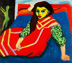 seated girl, 1907-08 //  by ernst ludwig kirchner (mike catalonian) Tags: portrait female germany painting expressionism 1908 1900s ernstludwigkirchner threequarterslength