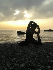 King Pigeon Pose (Claudia Olla) Tags: sardegna sunset yoga sardinia iglesias nebida yogini portubanda kingpigeonpose yogaeverywhere
