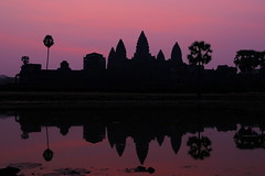Sunrise on Angkor Wat (pooly7) Tags: morning sky sun reflection water sunrise reflections temple early pond cambodia outdoor angkorwat angkor wat