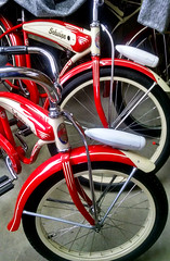 IMG9813 (BarneyGoogle99) Tags: red 1948 bike bicycle wheel stand tank seat balloon ivory tire chrome badge motorcycle vehicle spitfire brake pedals headlight handlebar horn schwinn rim coaster juvenile rods 1949 saddle dx truss grips bendix troxel 20 mesinger