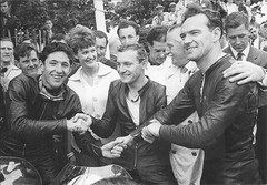 All Norton rostrum. Senior TT. 1961 (tiger289 (The d'Arcy dog supporters club)) Tags: scan motorbike motorcycles bikes sidecars riders bikers racing isleofman tt manx norton matchless touristtrophy superbike racetrack outdoor blackandwhite monochrome people leatherboys winners motorcyclesport