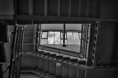 Stairway to heaven? (djeglin) Tags: architecture clouds stairs industrial skylight stairwell hdr monohdr