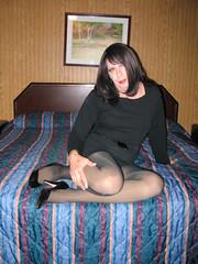 Legs on a bed (miss_lisa_dee) Tags: makeup crossdressing wig transvestite miniskirt pantyhose crossdresser hiheels crossdressed