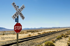A STOP in Nowhere (RedHatGal: Barbara Butler/FireCreek Photography) Tags: ca track desert traintracks stopsign deserted ridgecrest trona railroadcrossings tronapinnacles redhatgal traincrossings firecreekphotography barbarabutlerphotography