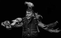 Street portrait of boy with pigeons (Daz Smith) Tags: city uk boy portrait people urban blackandwhite bw streets blancoynegro monochrome birds canon blackwhite bath candid pigeons citylife thecity streetphotography canon6d dazsmith bathstreetphotography