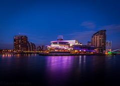 Lowry Theatre (Sandy Sharples) Tags: longexposure reflection manchester neon nightlights nightscape theatre salfordquays bluehour lowry