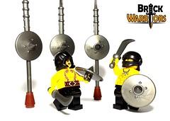 Fight to the Death (BrickWarriors - Ryan) Tags: castle fight lego head wrap medieval fantasy armor shield blade arabian custom weapons dervish helmets minifigure thrall brickwarriors
