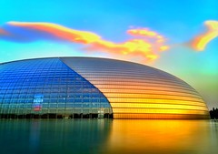 Be still my beating heart. Everything that happens is only a passing cloud. No need to be carried away. (National Center for the Performing Arts, Beijing) (cresting_wave) Tags: blue nature water skyline architecture reflections photography bluesky cloudscape manfrotto waterreflections orangecolor mobileography glassstructure mobilephotography procamera iphoneography slowshuttercam snapseed iphone6plus nationalcenterfortheperformingartsbeijing