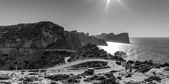 Cap de Formentor (hjuengst) Tags: blackandwhite backlight bay spain cap mallorca sunbeam sonnenstrahlen spanien mediterraneansea majorca gegenlicht balearen bucht mittelmeer schwarzweis