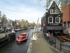 Canal Boat Tour - Amsterdam. (Flyingpast) Tags: blue red vacation sky holiday holland netherlands beautiful dutch amsterdam outdoors boat canal spring cafe europe tour capitalcity citybreak 1695 cafedesluyswacht wb2000 tl350
